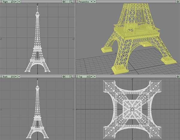 Laser cuttable template for eiffel tower for Eiffel tower model template
